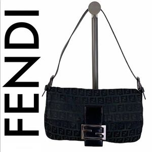FENDI BLACK MONOGRAM BAGUETTE SHOULDER BAG